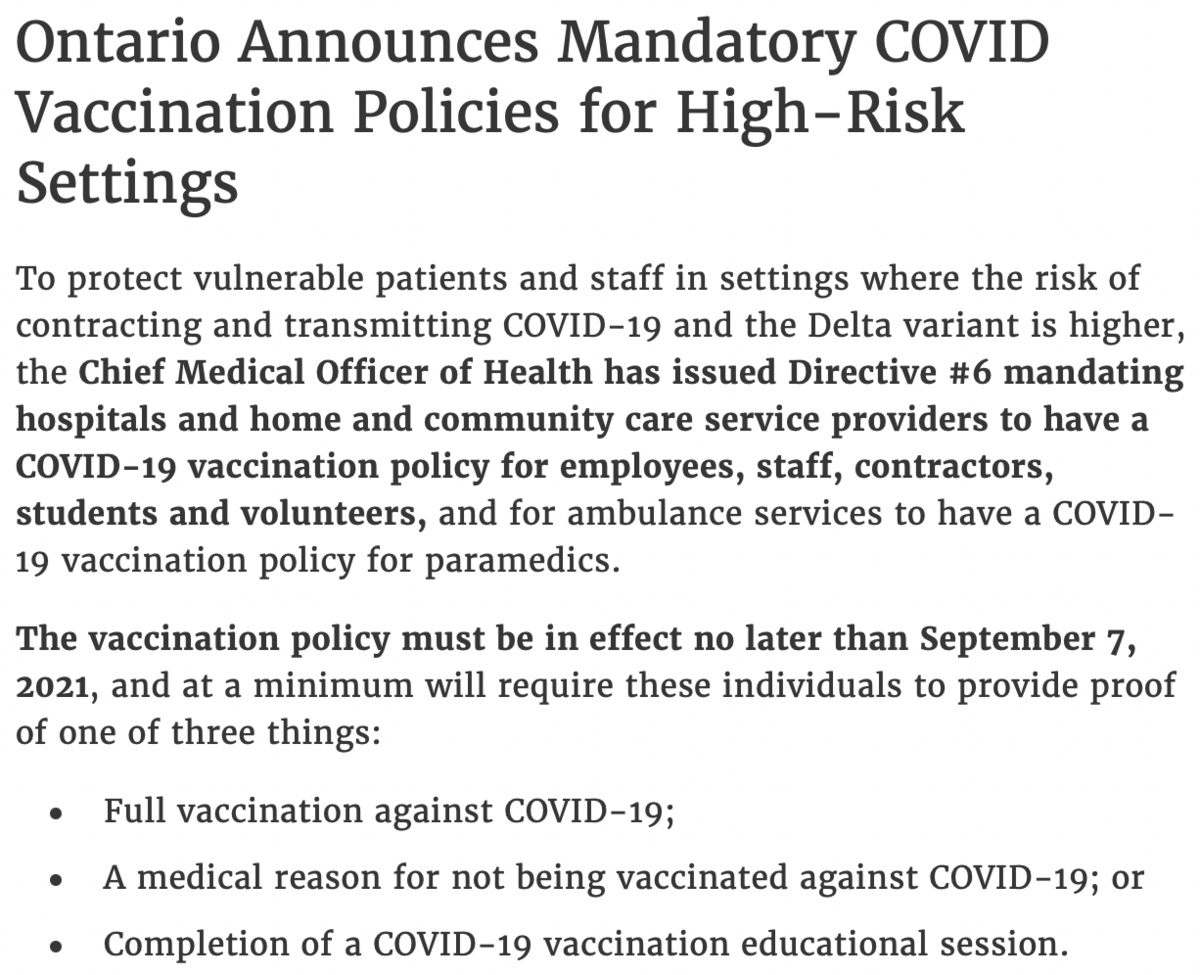 Ontario Announces Mandatory COVID Vaccination Policies for High-Risk Settings